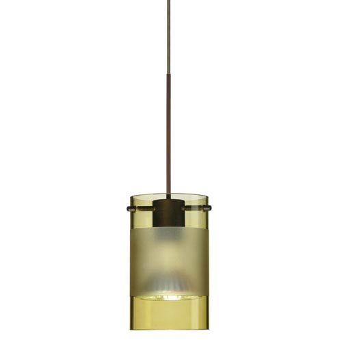 Besa Lighting Scope Bronze Halogen Mini Pendant with Flat Canopy and Olive and Frost Glass