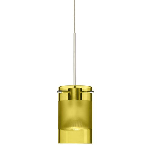 Besa Lighting Scope Satin Nickel LED Mini Pendant with Flat Canopy and Olive and Frost Glass