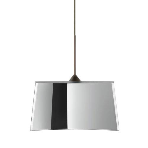 Besa Lighting Groove Bronze LED Mini Pendant with Flat Canopy and Mirror-Frost Glass