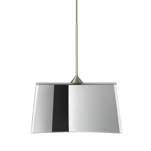 Besa Lighting Groove Satin Nickel Halogen Mini Pendant with Flat Canopy and Mirror-Frost Glass