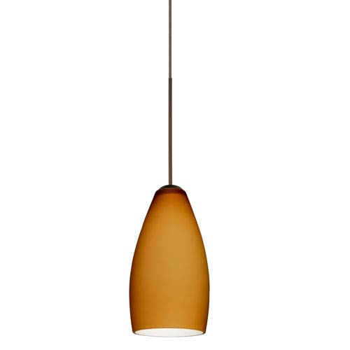 Besa Lighting Karli Bronze Halogen Mini Pendant with Flat Canopy and Amber Matte Glass