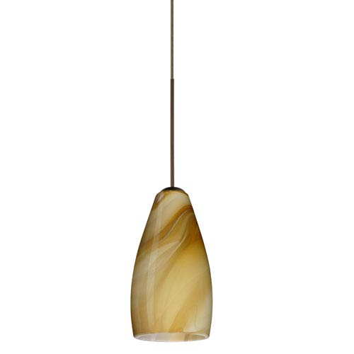Besa Lighting Karli Bronze LED Mini Pendant with Flat Canopy and Honey Glass