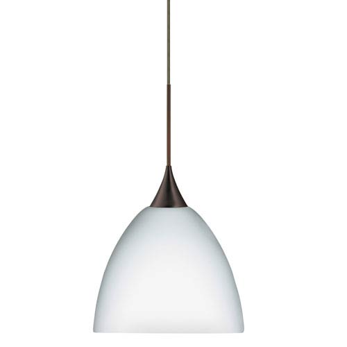 Besa Lighting Sasha Bronze LED Mini Pendant with Flat Canopy and Opal Matte Glass