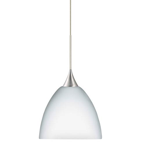 Besa Lighting Sasha Satin Nickel LED Mini Pendant with Flat Canopy and Opal Matte Glass
