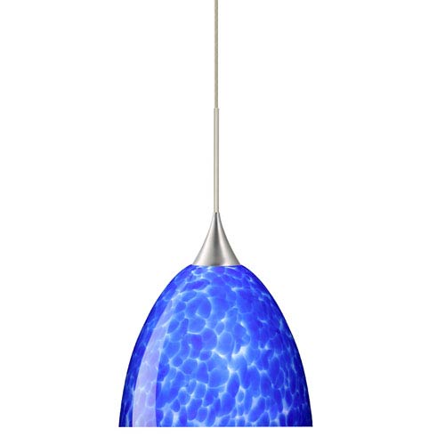 Besa Lighting Sasha Satin Nickel Halogen Mini Pendant with Flat Canopy and Blue Cloud Glass