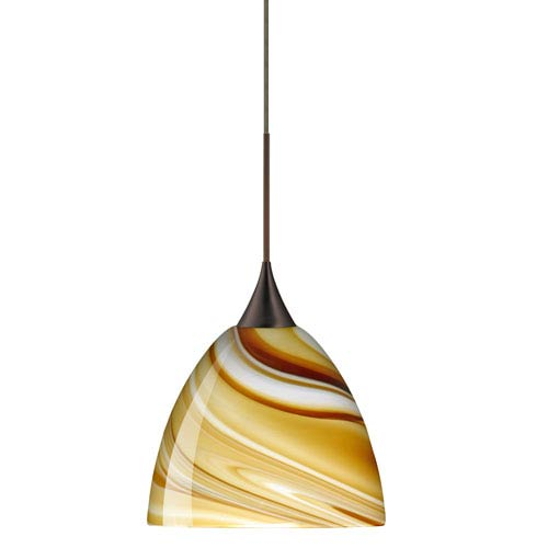 Sasha Bronze LED Mini Pendant with Flat Canopy and Honey Glass