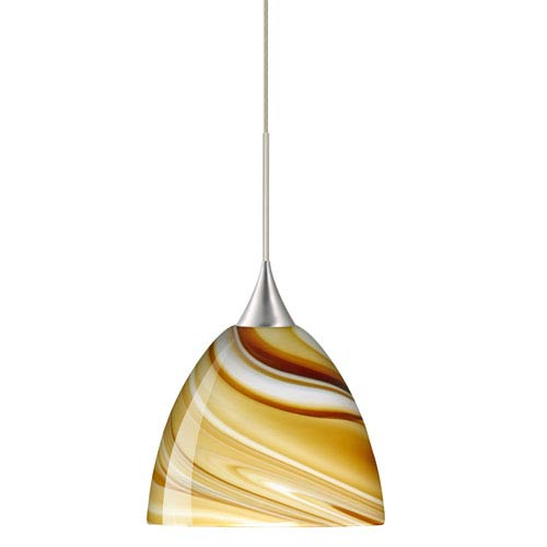 Sasha Satin Nickel LED Mini Pendant with Flat Canopy and Honey Glass
