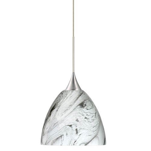 Besa Lighting Sasha Satin Nickel Halogen Mini Pendant with Flat Canopy and Marble Grigio Glass