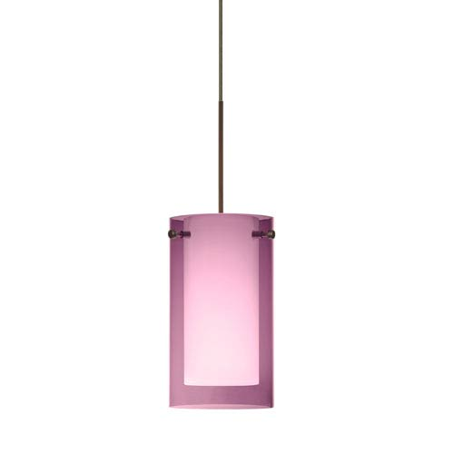 Besa Lighting Pahu Bronze Halogen Mini Pendant with Flat Canopy and Transparent Amethyst and Opal Glass
