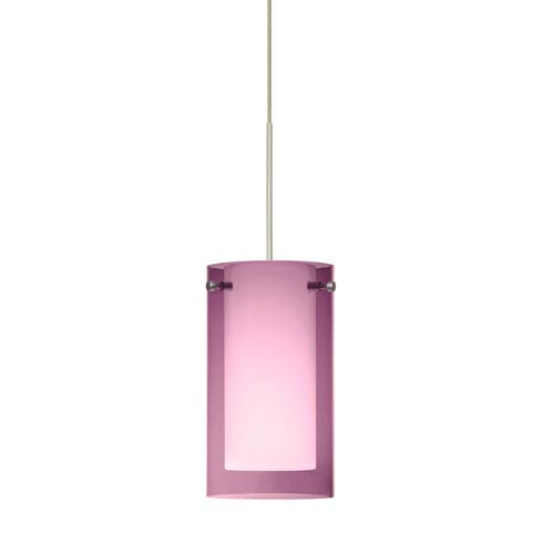 Besa Lighting Pahu Satin Nickel LED Mini Pendant with Flat Canopy and Transparent Amethyst and Opal Glass