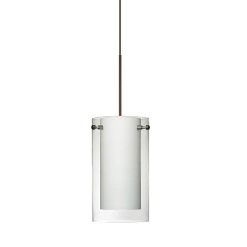 Besa Lighting Pahu Bronze Halogen Mini Pendant with Flat Canopy and Clear and Opal Glass