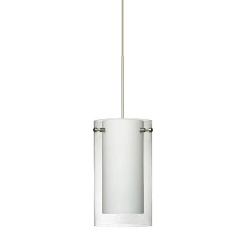 Pahu Satin Nickel LED Mini Pendant with Flat Canopy and Clear and Opal Glass