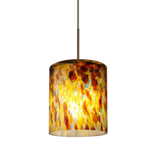 Falla Bronze One-Light LED Fixed-Connect Mini Pendant with Quartz Glass