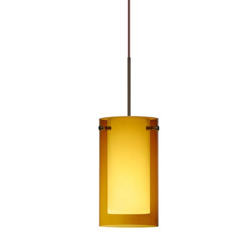 Besa Lighting Pahu Bronze Halogen Mini Pendant with Flat Canopy and Transparent Armagnac and Opal Glass