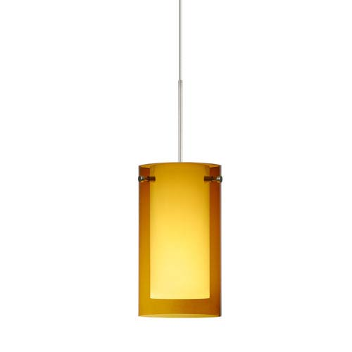Besa Lighting Pahu Satin Nickel LED Mini Pendant with Flat Canopy and Transparent Armagnac and Opal Glass