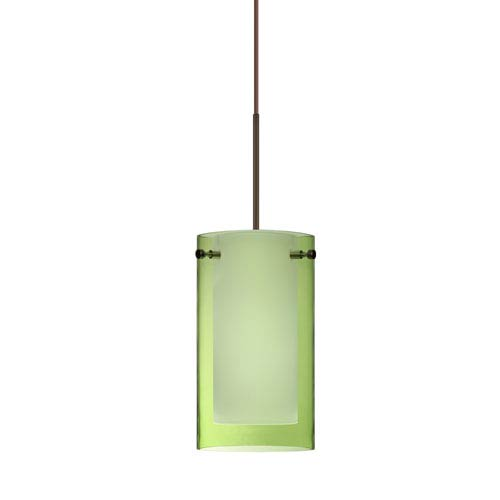 Pahu Bronze LED Mini Pendant with Flat Canopy and Transparent Olive and Opal Glass