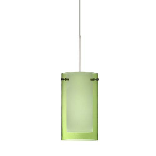 Besa Lighting Pahu Satin Nickel LED Mini Pendant with Flat Canopy and Transparent Olive and Opal Glass