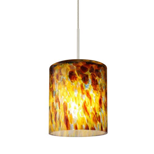 Falla Satin Nickel One-Light LED Fixed-Connect Mini Pendant with Quartz Glass