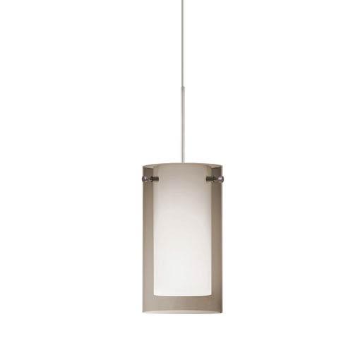 Pahu 4 Satin Nickel One-Light LED Mini Pendant with Transparent Smoke Glass