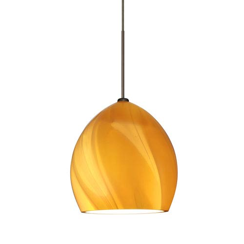 Sprite Bronze One-Light LED Fixed-Connect Mini Pendant with Honey Glass