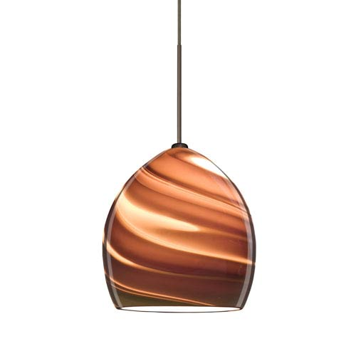 Sprite Bronze One-Light LED Fixed-Connect Mini Pendant with Smoke Twist Glass