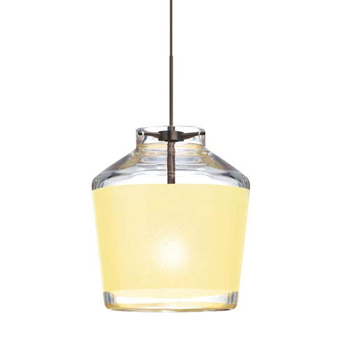 Pica 6 Bronze One-Light LED Fixed-Connect Mini Pendant with Creme Sand Glass