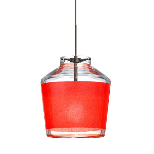 Pica 6 Bronze One-Light LED Fixed-Connect Mini Pendant with Red Sand Glass