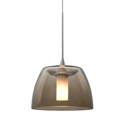 Spur Satin Nickel One-Light LED Mini Pendant with Smoke Shade