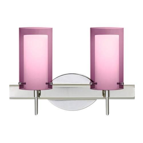 Pahu 4 Chrome Two-Light LED Bath Vanity with Transparent Amethyst Glass
