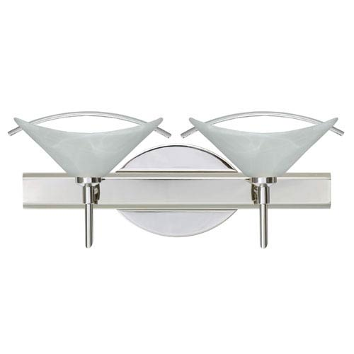 Besa Lighting Hoppi Chrome Two-Light Bath Fixture with Marble and Clear Glass