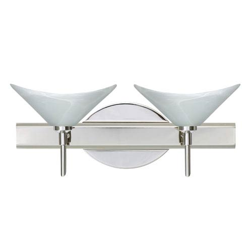 Besa Lighting Hoppi Chrome Two-Light Bath Fixture with Marble Glass