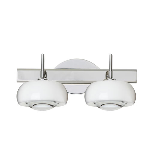 Besa Lighting Focus Chrome Two-Light Bath Fixture with Clear Glass