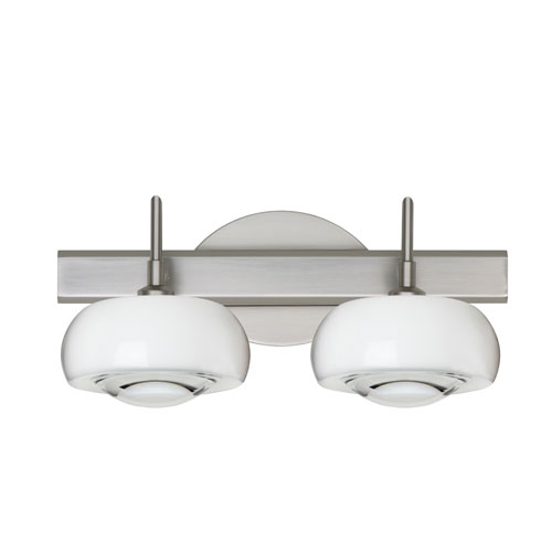 Besa Lighting Focus Satin Nickel Two-Light Bath Fixture with Clear Glass