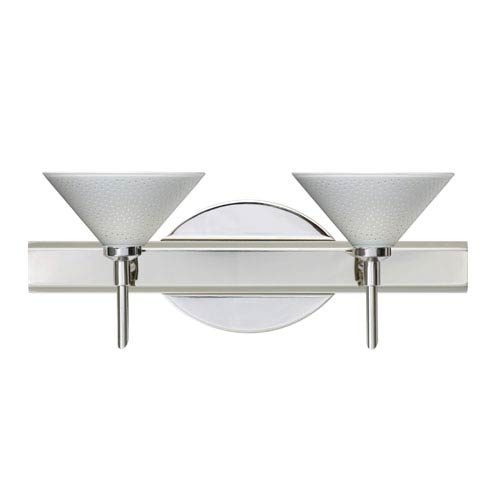 Besa Lighting Kona Chrome Two-Light Bath Fixture with White Starpoint Glass