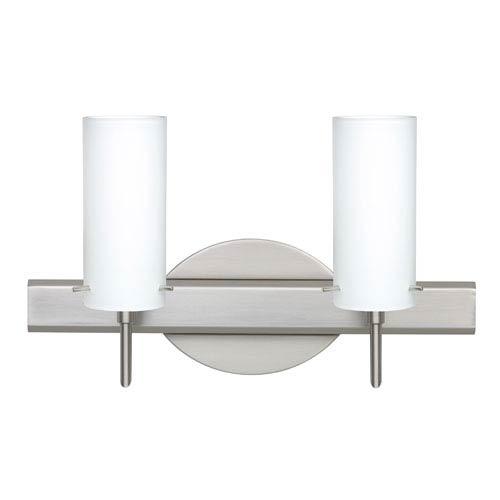Besa Lighting Copa Satin Nickel Two-Light Bath Fixture with Opal Matte Glass