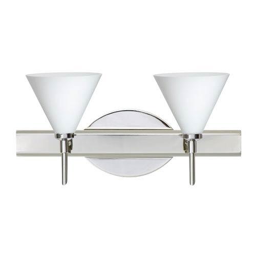 Besa Lighting Kani Chrome Two-Light Bath Fixture with Opal Matte Glass