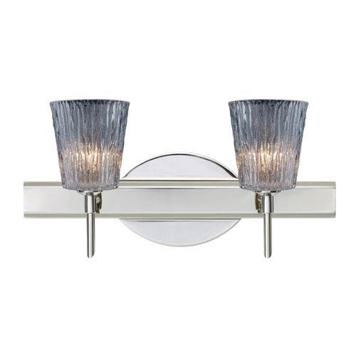 Besa Lighting Nico Chrome Two-Light Bath Fixture with Clear Stone Glass