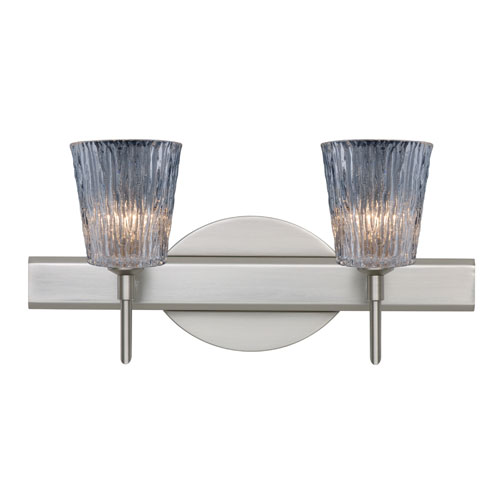 Besa Lighting Nico Satin Nickel Two-Light Bath Fixture with Clear Stone Glass