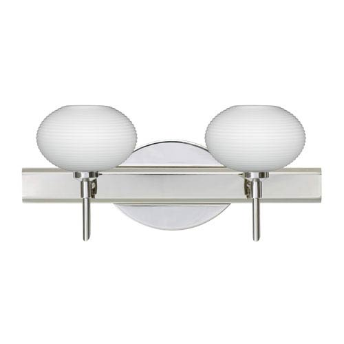 Besa Lighting Lasso Chrome Two-Light Bath Fixture with Opal Matte Glass