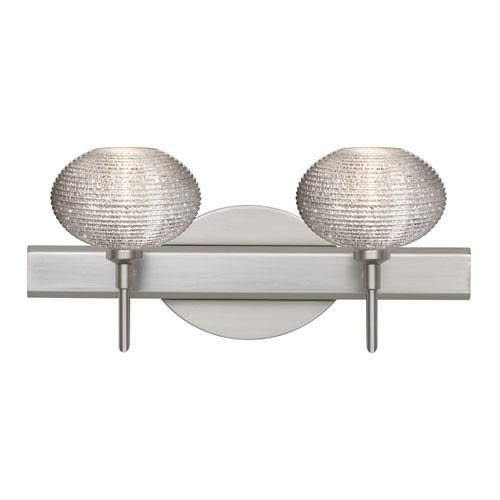 Besa Lighting Lasso Satin Nickel Two-Light Bath Fixture with Glitter Glass