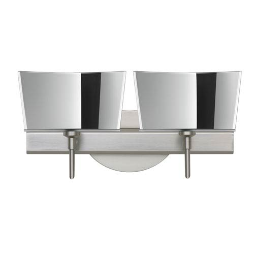 Besa Lighting Groove Satin Nickel Two-Light Bath Fixture with Mirror-Frost Glass