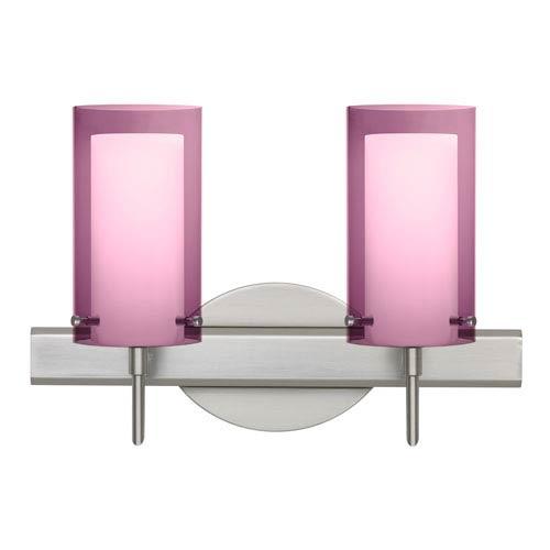 Pahu 4 Satin Nickel Two-Light LED Bath Vanity with Transparent Amethyst Glass