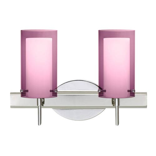 Besa Lighting Pahu Chrome Two-Light Bath Fixture with Transparent Amethyst and Opal Glass