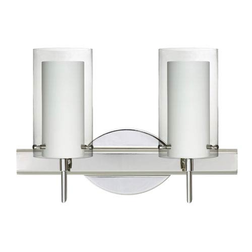 Besa Lighting Pahu Chrome Two-Light Bath Fixture with Clear and Opal Glass