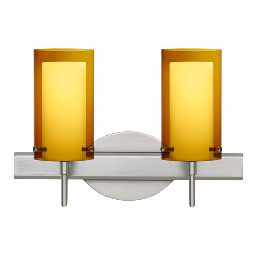 Besa Lighting Pahu Satin Nickel Two-Light Bath Fixture with Transparent Armagnac and Opal Glass