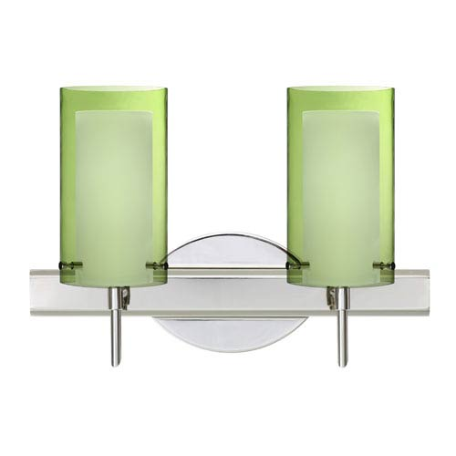 Besa Lighting Pahu Chrome Two-Light Bath Fixture with Transparent Olive and Opal Glass