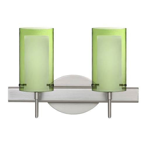 Besa Lighting Pahu Satin Nickel Two-Light Bath Fixture with Transparent Olive and Opal Glass
