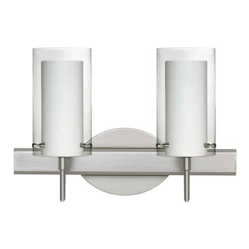 Pahu 4 Satin Nickel Two-Light LED Bath Vanity with Clear Glass