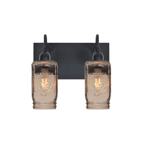 Milo Black Two-Light Vanity with Smoke Shade