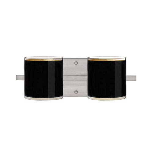 Besa Lighting Pogo Satin Nickel Two-Light Bath Fixture with Black and Inner Gold Glass